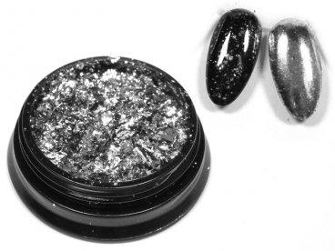 Efekt srebrnego lustra w płatkach metallic alu